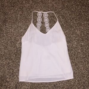White tank top with low lace back